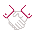 Guidance and support handshake icon